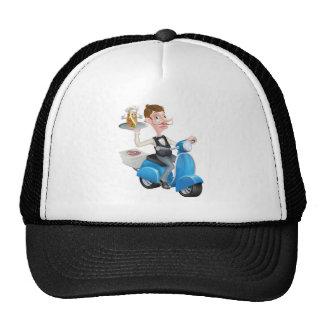 Cartoon Butler on Scooter Moped Delivering Souvlak Cap