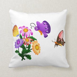 Cartoon Butterfly and Flowers American MoJo Throw Pillow