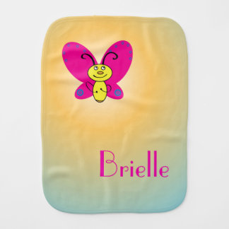 Cartoon Butterfly with Name Burp Cloth