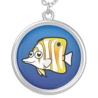 Cartoon Butterflyfish Silver Plated Necklace