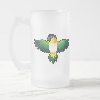 Cartoon Caique / Lovebird / Pionus / Parrot Frosted Glass Beer Mug