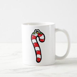 Cartoon Candy Cane with Smiling Face Basic White Mug