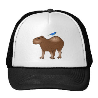 Cartoon Capybara with Blue Bird on Its Back Cap