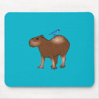 Cartoon Capybara with Blue Bird on Its Back Mouse Pads