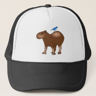 Cartoon Capybara with Blue Bird on Its Back Trucker Hat