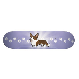 Cartoon Cardigan Welsh Corgi Skateboard Deck