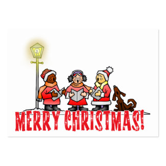 Cartoon Carolers sing Merry Christmas Business Card