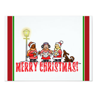 "Cartoon Carolers sing Merry Christmas 6.5"" X 8.75"" Invitation Card"