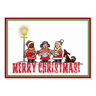 Cartoon Carolers sing Merry Christmas Pack Of Chubby Business Cards