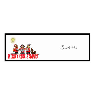 Cartoon Carolers sing Merry Christmas Pack Of Skinny Business Cards