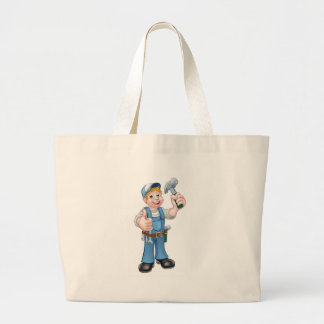 Cartoon Carpenter Handyman Holding Hammer Large Tote Bag