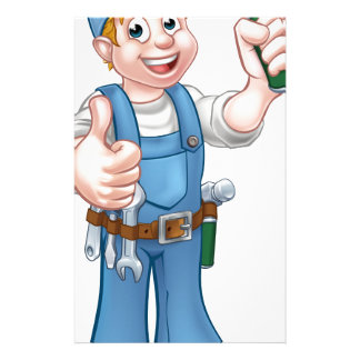 Cartoon Carpenter Handyman Holding Hammer Stationery Paper