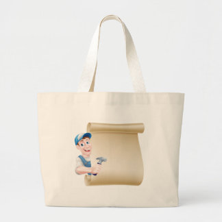 Cartoon Carpenter Scroll Large Tote Bag