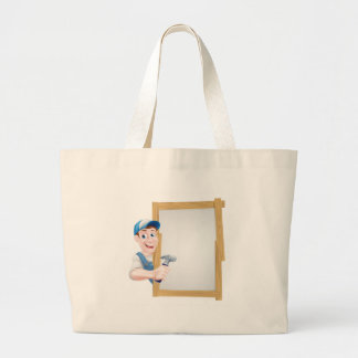 Cartoon Carpenter Sign Large Tote Bag