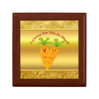 Cartoon carrots with big eyes and a smile to go gift box
