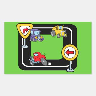 Cartoon Cars on a Race Track Rectangular Sticker
