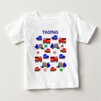 Cartoon Cars Trucks Fire Engines Cute Personalized Baby T-Shirt