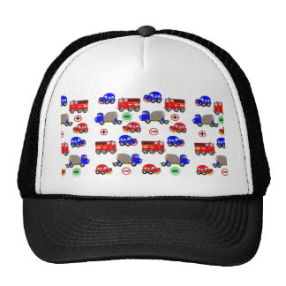 Cartoon Cars Trucks Fire Engines Cute Personalized Trucker Hat
