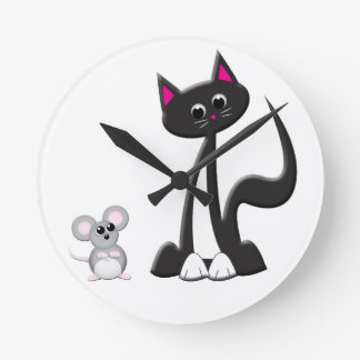 Cartoon Cat and Mouse Design Round Clock