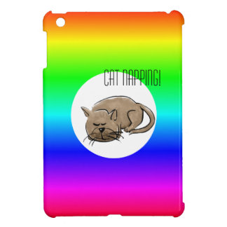 Cartoon cat -cat napping! on multi-colored case for the iPad mini
