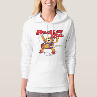 Cartoon Cat Character Rockin' Out Hooded Pullovers