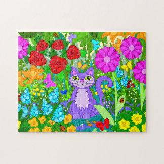 Cartoon Cat in Garden Flowers Ladybugs Butterflies Puzzles