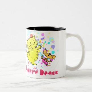 Cartoon Cat + Mouse Dance Two-Tone Coffee Mug