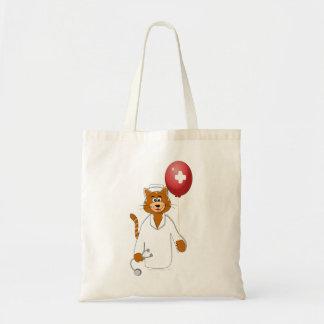 Cartoon Cat Nurse with Balloon Budget Tote Bag