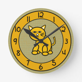 Cartoon Cat on Cute Gold Clock for Kids