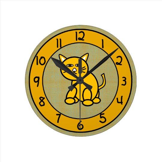 Cartoon Cat on Cute Gold Clock for Kids
