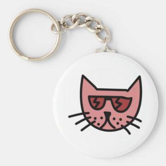 Cartoon Cat Wearing Sunglasses Keychain
