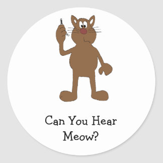Cartoon Cat With Cell Phone Round Sticker