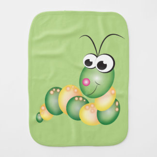 Cartoon Caterpillar and Butterfly Burp Cloth