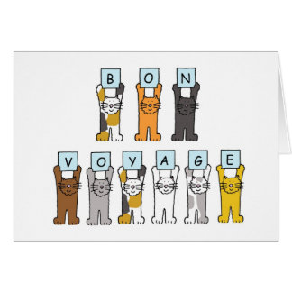Cartoon cats Bon Voyage Card