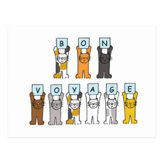 Cartoon cats Bon Voyage Postcard