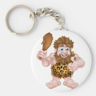 Cartoon Caveman Giving Thumbs Up Basic Round Button Key Ring