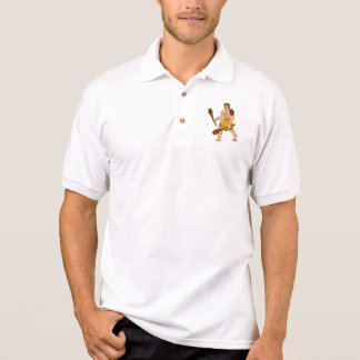 cartoon caveman holding club polo shirt