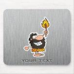Cartoon Caveman; Metal-look Mousemats
