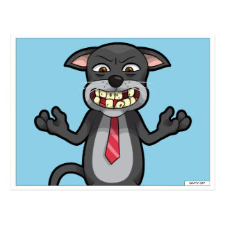Cartoon Cavity Cat Tooth Decay Dentist Mailer Postcard