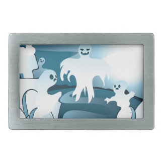 Cartoon Cemetery with Ghosts 2 Belt Buckles
