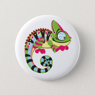 cartoon chameleon 6 cm round badge