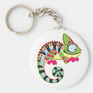 cartoon chameleon basic round button key ring