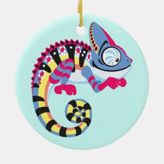 cartoon chameleon round ceramic decoration