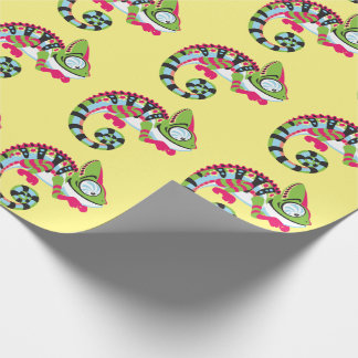 cartoon chameleon wrapping paper