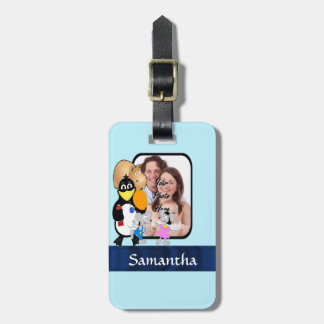 Cartoon character photo background luggage tag