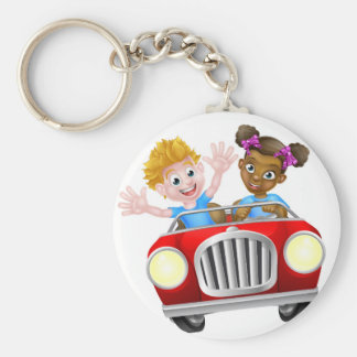 Cartoon Characters Driving Car Basic Round Button Key Ring