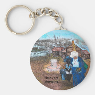 cartoon cheek, Times are changing Basic Round Button Key Ring