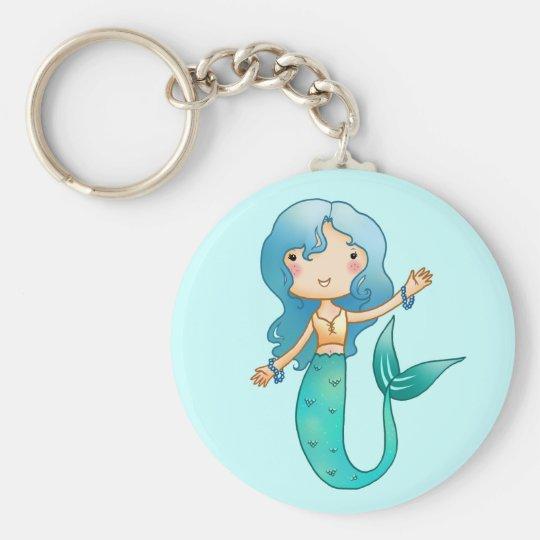 Cartoon Cheerful Mermaid Basic Round Button Key Ring