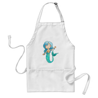 Cartoon Cheerful Mermaid Standard Apron