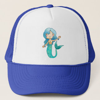 Cartoon Cheerful Mermaid Trucker Hat